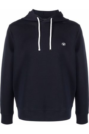 Emporio Armani Men Hoodies - Long-sleeved logo patch hoodie