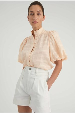 WITCHERY Women Blouses - Pre-Order - High Neck Button Blouse