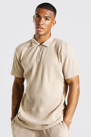 Boohoo Men Polo Shirts - Mens Taupe Regular Fit Pleated Polo