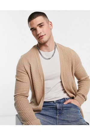 ASOS Men Cardigans - Muscle fit textured knit cardigan in -Neutral