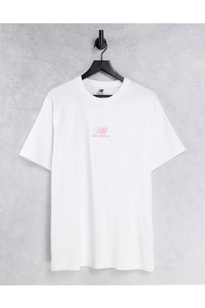 New Balance Stacked logo t-shirt in and pink - Exclusive to ASOS