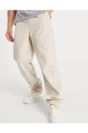 ASOS Relaxed pants in check cord design-Neutral
