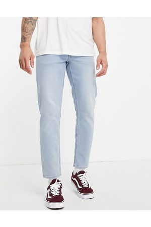 ASOS Men Straight - Stretch tapered jeans in light wash-Blue