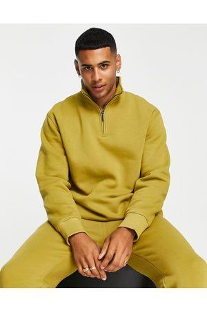 Topman Men Sweatshirts - (part of a co-ord) half-zip sweatshirt in olive-Green