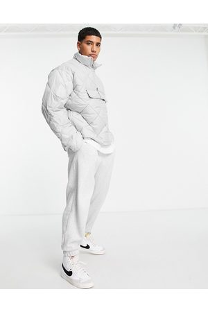 Topman Men Winter Jackets - Recycled quilted funnel neck jacket in