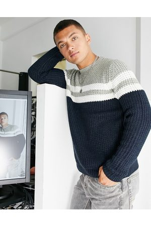 Only & Sons Men Cardigans - Textured jumper with chest stripe in navy and grey