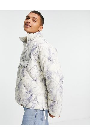 Topman Recycled quilted funnel neck jacket in print design