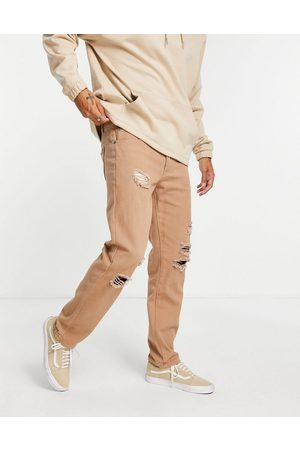 Liquor N Poker Men Straight - (part of a co-ord) straight leg jeans in brown denim with distressing