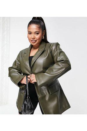 ASOS ASOS DESIGN Curve faux leather belted grandad jacket in -Green