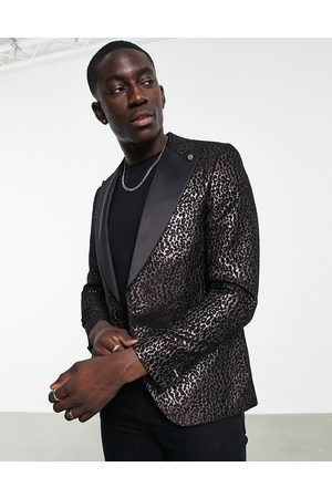 Twisted Tailor Blazer in with black leopard jacquard design