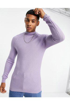 ASOS Men Turtlenecks - Muscle fit textured knit turtleneck jumper in