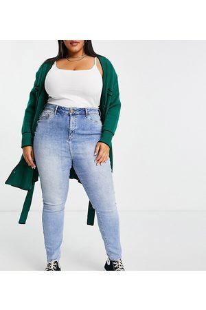River Island High rise skinny jeans in light denim-Blue