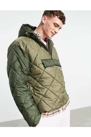 Topman Men Winter Jackets - Recycled quilted jacket with hood in olive and -Green