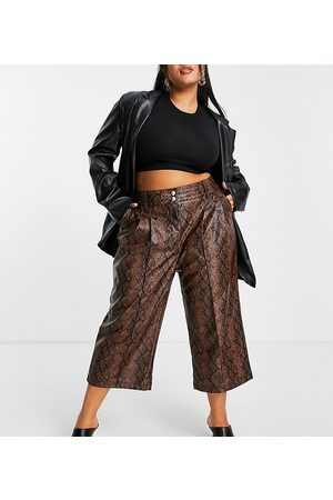 River Island Women Leather Pants - Faux leather snake print straight leg pants in brown