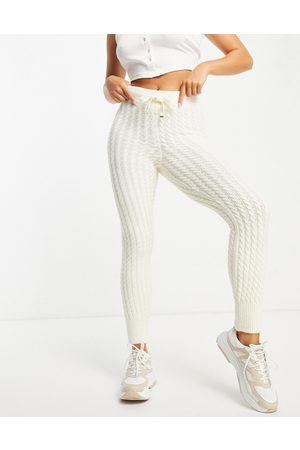 River Island Cable knit cuffed hem trackies in -White