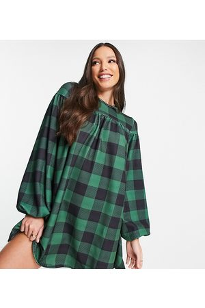 ASOS Women Evening Dresses - ASOS DESIGN Tall oversized long sleeve smock dress with tie back in large print