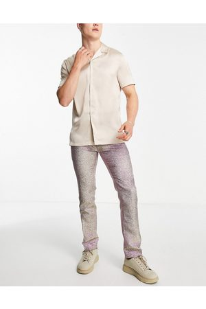 Twisted Tailor Men Formal Pants - Smart pants in champagne glitter
