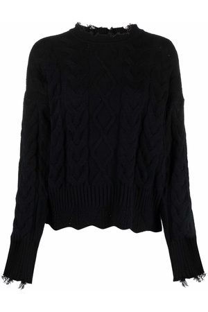 Pinko Distressed cable-knit jumper