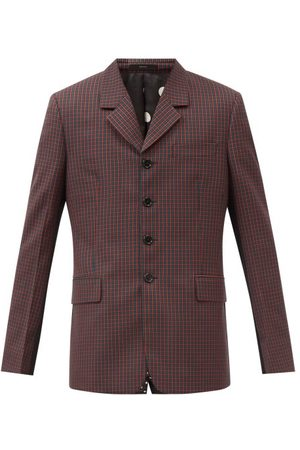 Paul Smith Men Outdoor Jackets - Contrast-panel Single-breasted Check Wool Jacket - Mens - Multi