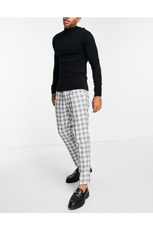 Topman Men Chinos - Tapered checked pants in and white