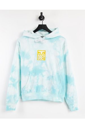 Obey Women Hoodies - Relaxed hoodie with front logo in tie dye-Blue