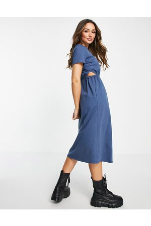 River Island Women Midi Dresses - Ruched cut out waist midi dress in navy