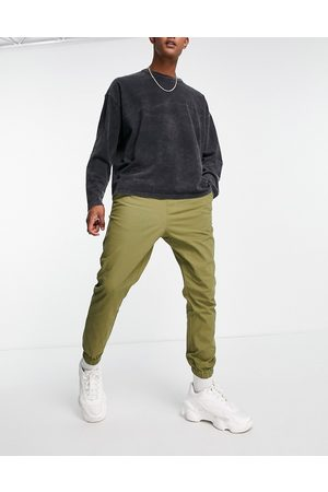 ASOS Tapered chino trackies with elasticated waist in khaki-Green
