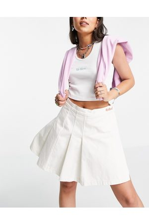 Kickers Mini tennis skirt with embroidered waist logo-Neutral