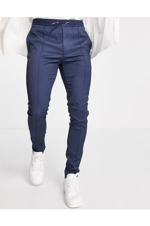 ASOS Smart skinny pants with drawcord waist in texture
