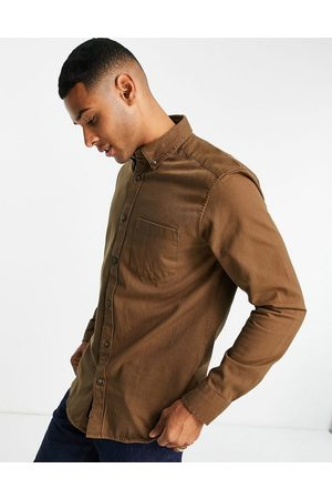 Only & Sons Twill shirt with button down collar in tan-Brown