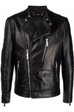 Philipp Plein Men Leather Jackets - Leather biker jacket