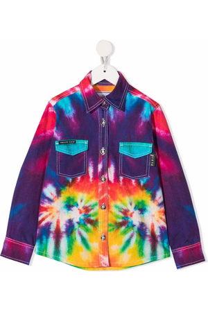 Philipp Plein Tie-dye denim shirt