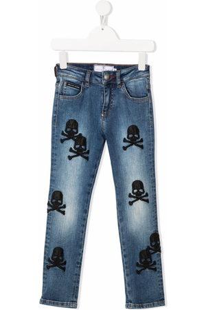 Philipp Plein Skull-embroidered regular-fit jeans