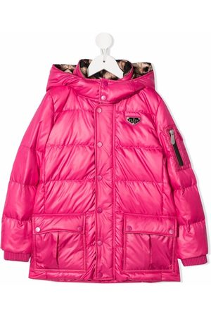 Philipp Plein Satin logo-patch hooded padded jacket