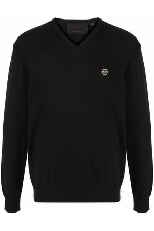 Philipp Plein Men Sweaters - Logo-patch V-neck jumper