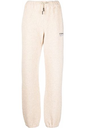 OFF-WHITE Women Joggers - Embroidered-logo shearling track pants