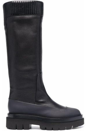 santoni Women Knee High Boots - Ribbed leather knee-high boots