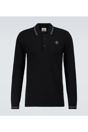 Burberry Men Long sleeves - Long-sleeved cashmere polo shirt