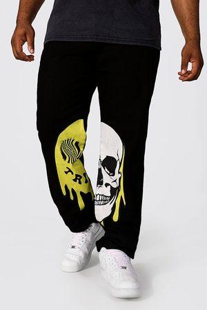 Boohoo Men Straight - Mens True Plus Straight Leg Trippy Skull Print Jean