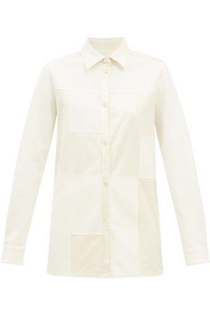 Jil Sander Women Shirts - Patchwork Wool-twill Shirt - Womens