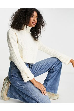 River Island Cable knit cropped funnel neck jumper in -White