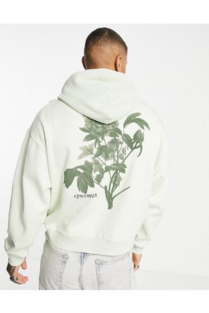 ASOS Men Hoodies - Oversized hoodie in light green with contrast rib panels and floral back graphic-Neutral