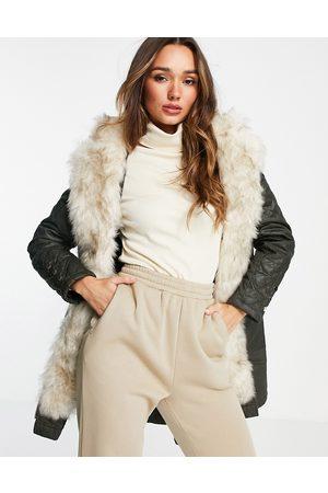 River Island Women Parkas - Faux-fur lined parka jacket in -Green