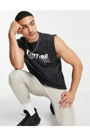 The Couture Club Men Tank Tops - Flying eagle cut-off singlet in -Grey