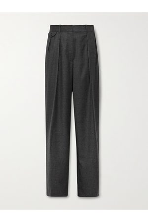 The Row Marcello Wide-Leg Pleated Virgin Wool-Flannel Trousers