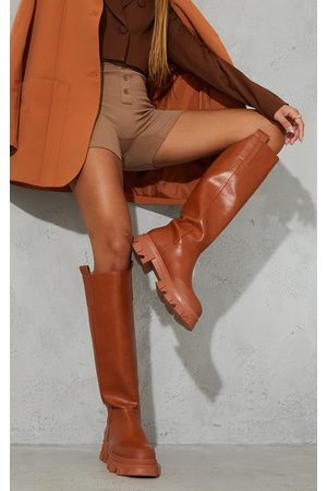PRETTYLITTLETHING Women Knee High Boots - Toffee PU Round Toe Chunky Welly Knee Boots