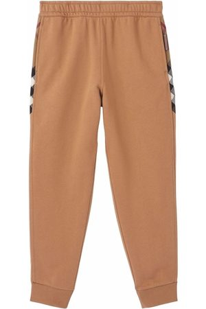 Burberry Check-panel cotton jogging pants