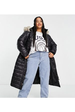 River Island Women Winter Jackets - Longline padded jacket with faux-fur hood in