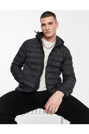 Farah Strickland quilted jacket with hood in
