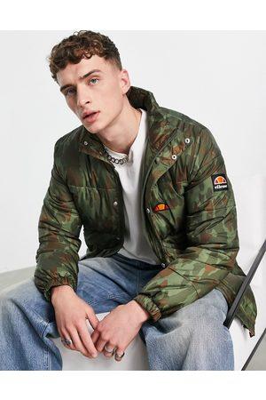 Ellesse Men Winter Jackets - Puffer jacket with branding in camo-Green
